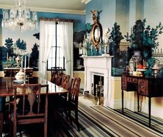 """Gracie Mansion dining room decorated in the 1980s by Albert Hadley. Antique 19th-century wallpaper by Zuber. Photo: """"Albert Hadley: The Story of America's Preeminent Interior Designer"""" (2005 - Rizzoli) via Canada House & Home."""