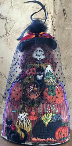 Fabulous Melissa Shirley needlepoint witch. Stitched by Ginger Brennecke.