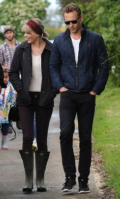 Taylor Swift and Tom Hiddleston in Suffolk, England, visiting Hiddleston's parents.