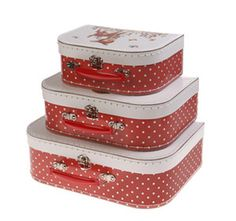 Set of 3 Vintage Style Polka Dot Heidi Suitcases. By Sass & Belle. Storage. New  Visit..The Ginger Sheep £18.99
