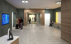 3d architectural renderings of the Blue Cross Blue Shield headquarters reception area.