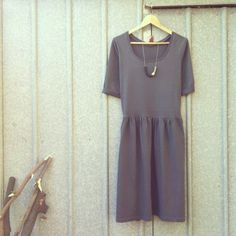 Dark Grey Out & About Dress by Diane in a heavy-ish dark grey cotton jersey