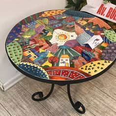 """Mosaic Art Diverse City Series piece by ringmosaics on EtsyHouse mosaics on stairs create streets!""""Around the Town"""" - as I call it - mosaic - Salvabrani Mosaic Furniture, Funky Painted Furniture, Paint Furniture, Furniture Makeover, Mosaic Diy, Mosaic Crafts, Mosaic Glass, Glass Art, Mosaic Designs"""