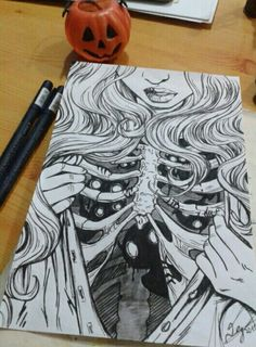 Halloween art black and white draw drawing girl Halloween art black and white draw drawing girl This image has get. Dark Art Drawings, Pencil Art Drawings, Art Drawings Sketches, Cool Drawings, Tattoo Sketches, Fantasy Drawings, Tattoo Drawings, Art Du Croquis, Arte Horror