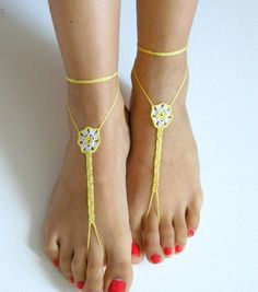 Barefoot Sandals whiteyellow READY TO SHIP by SibelDesign on Etsy, $14.90