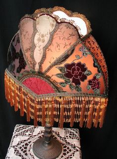Crazy quilt influence on this vintage Victorian lampshade ~ fans were also a crazy quilt favorite pattern