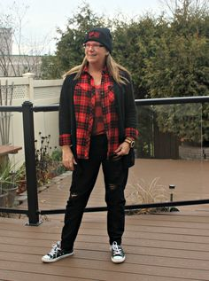 distressed denim, buffalo Plaid and a Canada Shirt from Old Navy with a toque, Hello Canada