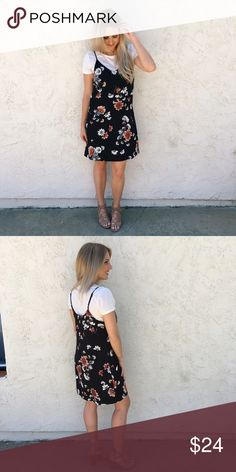"""2 piece T-Shirt Dress Slip dress with a black background with salmon, cream, and mustard floral print. Adjustable straps. Cream colored round neck t-shit underneath. Bust: 39"""", Length: 35"""". 93% Polyester, 7% Spandex. Xhilaration Dresses Mini"""