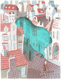 Joo Hee Yoon, City Pachyderm, silk screen print (via JooHee Yoon)