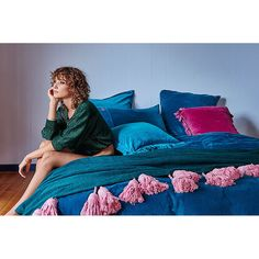 TROW |  emerald throw with lilac tassels by kip + co
