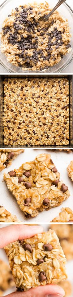 These healthy granola bars are full of chocolate! So easy, so good and just 38 calories! Perfect for grab-and-go snacks!