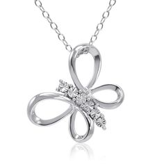 Sterling Silver Diamond Butterfly Pendant-Necklace on an 18 inch Chain ($30) ❤ liked on Polyvore featuring jewelry, chains jewelry, diamond necklace pendant, sterling silver diamond pendant, sterling silver jewelry and butterfly jewelry