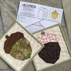 Sewing Block Quilts Acorn Quilt Block Pattern - x Mug Rug Patterns, Quilt Block Patterns, Pattern Blocks, Sewing Patterns, Quilting Projects, Sewing Projects, Quilting Ideas, Sewing Ideas, Quilting Board