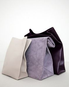 Celine lunch bags in leather and suede. E.g. made out of thick actual fabric (soccer) - can be used as laundry bag.