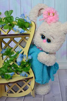 Купить Зайка вязаная Ксюша - бирюзовый, зайка, зайка девочка, игрушка вязаная, игрушка в подарок
