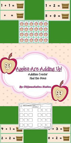 """Free!  """"Apples are Adding Up!""""  Math Center or Game.  Great for preschool, kindergarten, and special education instruction.  School or homeschool setting.  Addition, sums to 5."""