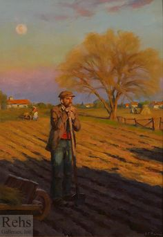 Gregory Frank Harris Evening Light and April Moon Riverside Cottage, October Sky, Wild Poppies, Art Students League, Rainbow Art, Portrait Poses, Old Master, Retro Art, Oeuvre D'art
