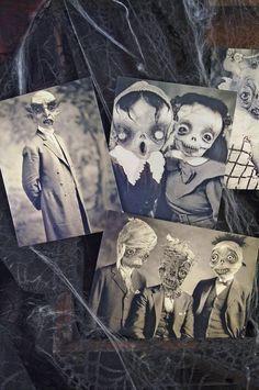 Set of 5 original Postcards -Set Halloween - monsters mummy zombie horror ghost scarecrow witches skull nosferatu vampire freak  art doll. $10.00, via Etsy.