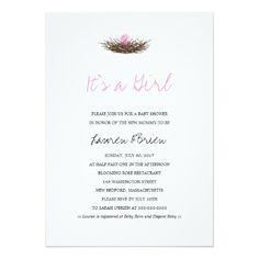 Watercolor Baby Girl Bird's Nest Baby Shower Card