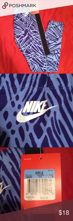 Girls Nike Leggings Patterned girls Nike leggings in size medium. Purple pattern with black accents on each side of the leg. I have three pairs available. Brand new with tags and originally $45. Cheaper on Merc. Nike Bottoms Leggings