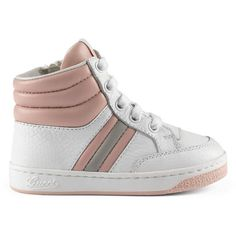 Gucci Toddler Leather Web High-Top Sneaker ($270) ❤ liked on Polyvore  featuring