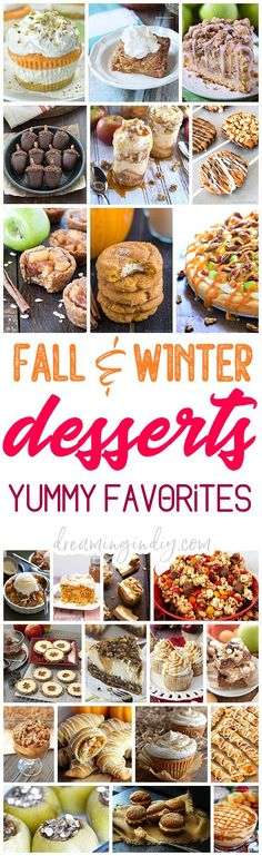 The BEST Easy Fall Harvest, Autumn Holidays and Winter Party Desserts & Treats Recipes Perfect for Your Thanksgiving Dessert Table and Christmas Holiday Party Trays! Pumpkin, Cinnamon, Apple and Caramel flavored favorites - Dreaming in DIY Winter Desserts, Mini Desserts, Thanksgiving Desserts, Party Desserts, Holiday Desserts, Delicious Desserts, Dessert Healthy, Dessert Recipes, Dessert Party