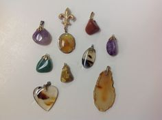 Vintage Polished Rock Pendants by GrandmaRietas on Etsy