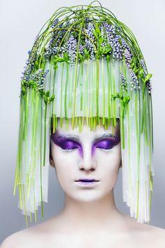 Turcan Dmitry designer floral art inspiration head piece muscari tube body art make up