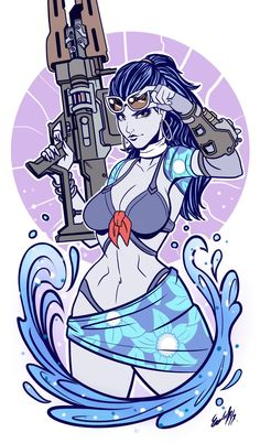 Widowmaker at the Beach - Edgar Sandoval Overwatch Widowmaker, Overwatch Fan Art, Overwatch Tattoo, Game Character, Character Concept, Character Design, Overwatch Funny Comic, Overwatch Drawings, Overwatch Wallpapers