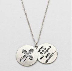 SILVER COLORED WITH GOD ALL THINGS ARE POSSIBLE... LAYERED PENDENT NECKLACE