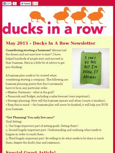 Our May Newsletter - ducksinarow.com