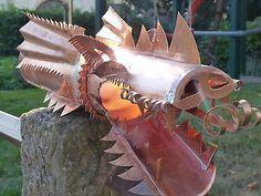 Wasserspeier Rinnenschmuck Drachenkopf handgefertigt für DN100 Kupfer