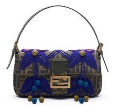 """Vintage baguette with purple wool thread and tobacco-colored accent beads, $1,140 