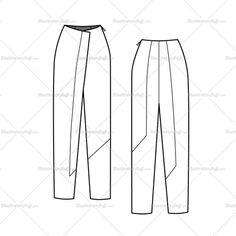 Women's Colorblock Wrap Pants Fashion Flat Template