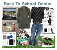 """School Denim"" by virtudiaries ❤ liked on Polyvore featuring INC International Concepts, STELLA McCARTNEY, Pieces, H&M, Happy Jackson, Moschino, Zizzi, Paper Mate, John Lewis and L'Occitane"