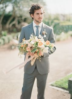 Gray and Peach Garden Wedding in Sonoma    #weddings #weddingideas #winecountry #fineartweddings #groom #suits #bouquet