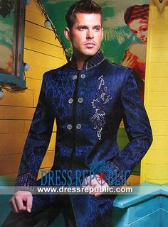 Dark Royal Wide Stand Collar Men's Sherwani with Intricate Embellishment Work