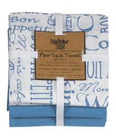 Take a look at this Kay Dee Blue 'Cooking Rules' Flour Sack Towel Set by Colorful Kitchen Collection on #zulily today!