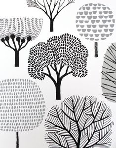 45 Ideas for screen printing poster illustration Doodle Drawings, Doodle Art, Flower Drawings, Doodle Trees, Art Et Illustration, Illustrations, Pattern Illustration, Art Graphique, Tree Art