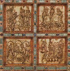 Anonimo, Paliotto d'altare Lamina d'oro con pietre e smalti, particolare della facciata anteriore. L'altare fu concepito all'epoca di Carlo il Calvo, come risulta da un'iscrizione. Il rivestimento in oro dell'altare fu offerto dall'Arcivescovo Angilberto II (824-859). milano st ambrogio
