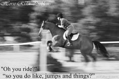 I hate hearing this......I don't jump, I don't race, I don't even compete, I'm a simple trail rider with a sweet pleasure horse... :))