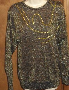 Sweater Large Brown Gold Metallic Sequin Knit Top Pullover Vtg Long Sleeve 1980s #ModesKy #RoundedNeckline