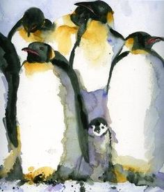 """""""Just Chillin Watercolor Painting of Penguins art"""" by Miriam Schulman: This charming painting depicts a baby penguin peeking out from the adults. // Buy prints, posters, canvas and framed wall art directly from thousands of independent working artists at Imagekind.com."""