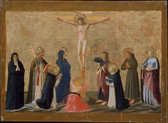 The Crucifixion // ca. 1440 // Fra Angelico (Guido di Pietro) // To the left of the Crucifixion are shown Saints Monica, her son Augustine, and Peter Martyr; to the right are Saints Dominic, Francis, and Elizabeth of Hungary. This damaged but poignant picture was painted in the 1440s, when Fra Angelico and his workshop were decorating the convent of San Marco in Florence