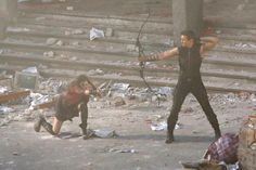 Avengers 2 Set Photos - Scarlet Witch + Hawkeye  I JUST CANT EVEN!!!