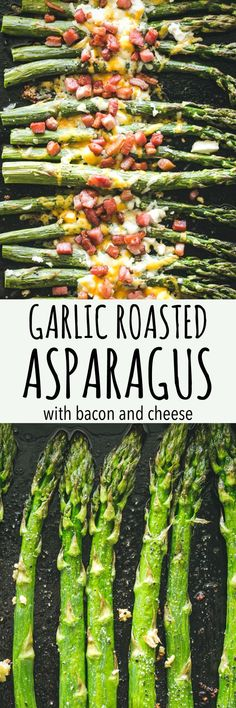 Garlic Roasted Asparagus with Bacon and Cheese – Our Garlic Roasted Asparagus is made with just a few simple ingredients, PLUS bacon and cheese, and makes for a delicious side dish with any meal! #asparagus #cheese #bacon #keto