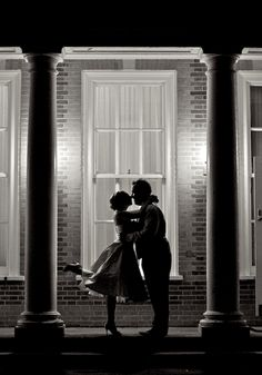 Nice setting – silhouette shot and bride with one leg up.