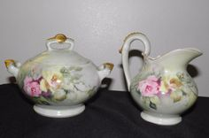 #Depose touraine t & v #france creamer & sugar bowl w/lid roses #porcelain antiqu,  View more on the LINK: 	http://www.zeppy.io/product/gb/2/351898956837/