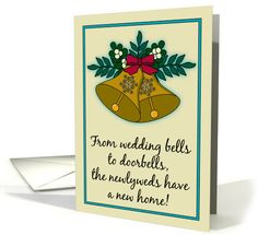 Christmas New Address Announcements Newlyweds Vintage Look Bells card by Penny Cork
