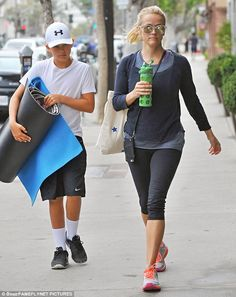 Bonding time: Reese Witherspoon headed to yoga with her son Deacon Phillippe, 12, in Los Angeles on Thursday